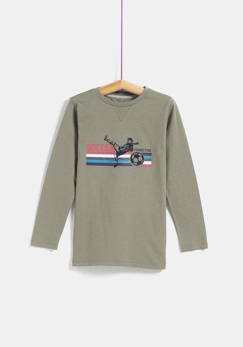 Camiseta caqui 'Soccer' de niño de la colección 'I-O' de Carrefour y TEX para otoño/invierno 2019
