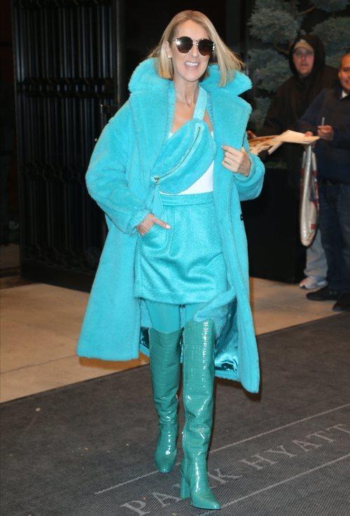 Celine Dion con look azul de pelo sintético en Nueva York