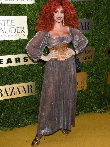 Jillian Hervey con un vetido estilo medieval en la gala Lincoln Center Corporate Fund Fashion 2019