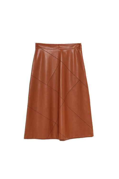 Falda marrón de cuero de la colección Sfera otoño/invierno 2019-2020 Especial Navidad