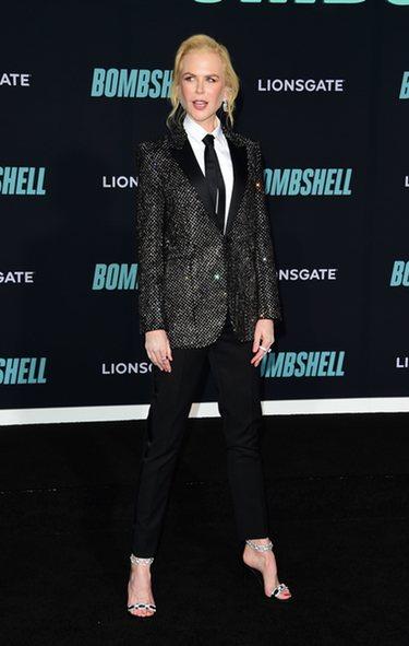 Nicole Kidman luce un traje masculino en la premiere de 'Bombshell'