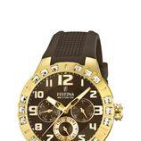 Reloj de correa negra de silicona de la colección 'Golden Dream' de Festina
