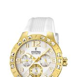Reloj de correa de silicona blanca de la colección 'Golden Dream' de Festina