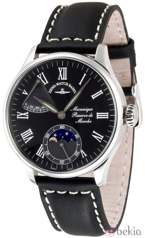 Reloj Zeno-Watch Basel con correa de piel negra de la línea Godat II Roma