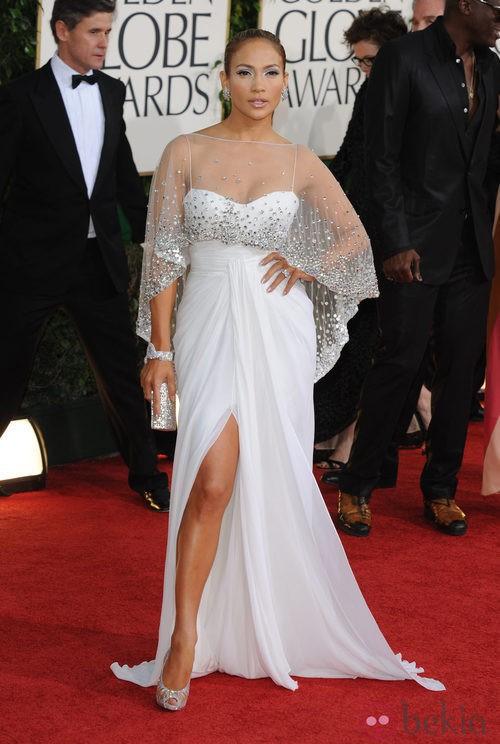 Jennifer Lopez en la alfombra roja de los Globos de Oro 2011