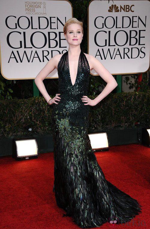 Evan Rachel Wood con vestido de Gucci Première en la alfombra roja de los Globos de Oro 2012