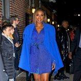 Jennifer Hudson con vestido azul de brillantes en Nueva York