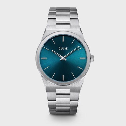 Reloj masculino metalizado con detalles en azul de la colección primavera/verano 2020 de Cluse