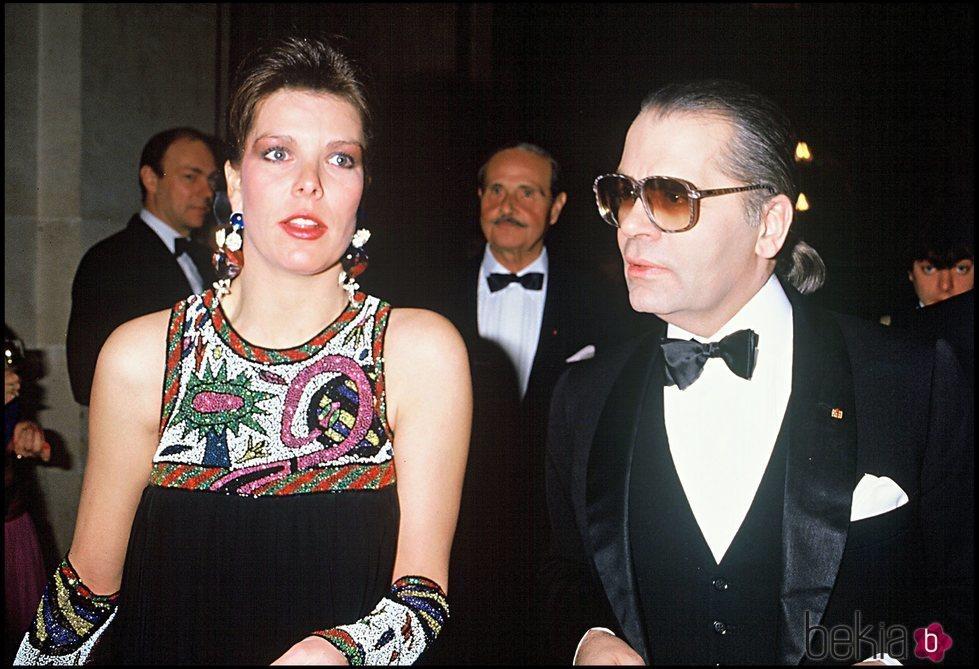 La Princesa Carolina y Karl Lagerfeld en los años 80
