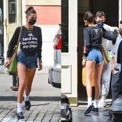 Bella Hadid con unos shorts que dejan sus nalgas al descubierto