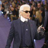 Karl Lagerfeld en el desfile de Chanel Alta Costura Primavera/Verano 2012 de París
