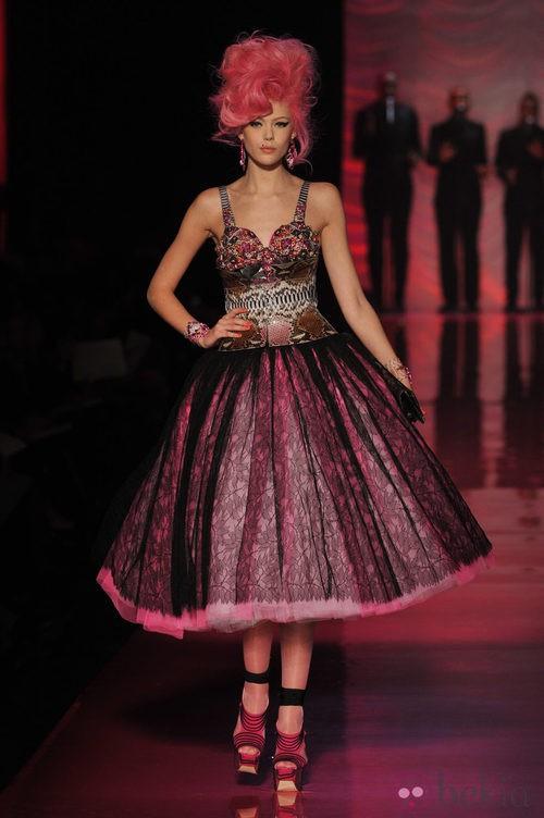 Vestido de tul rosa estilo años 50 de Jean Paul Gaultier Alta Costura
