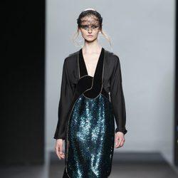 Vestido glitter verde de Miguel Palacio en Fashion Week Madrid