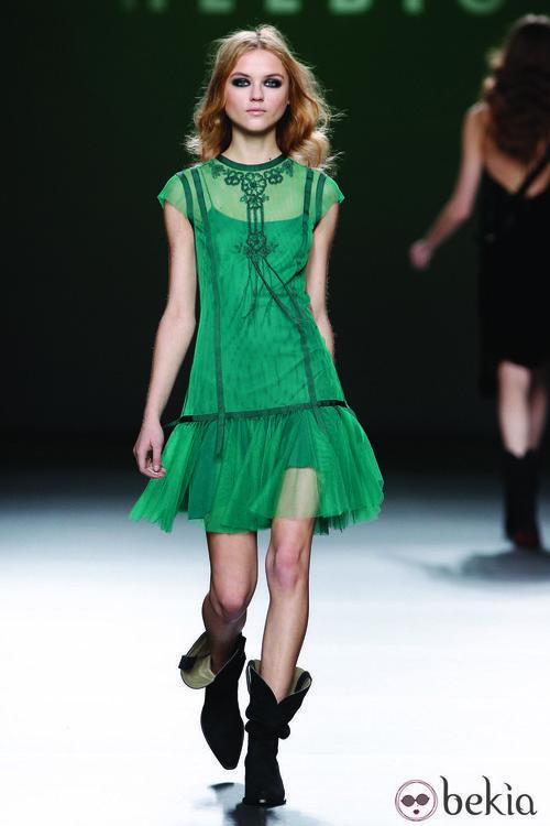 Vestido de tul verde de la colección otoño/invierno 2012/2013 de Teresa Helbig