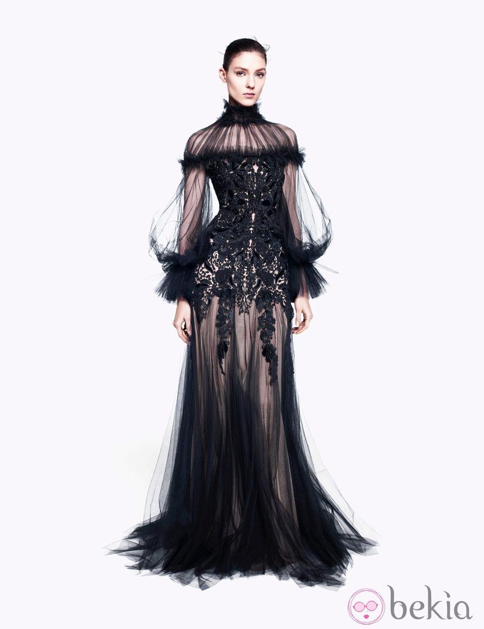 Vestido tul negro transparente