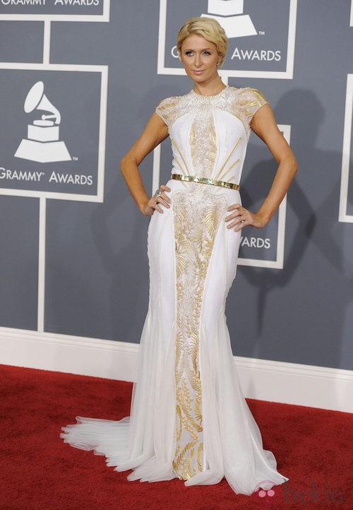 Paris Hilton con un vestido Basil Soda en los Grammy 2012