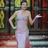 Eva Hache con vestido rosa empolvado en los Premios Goya 2012