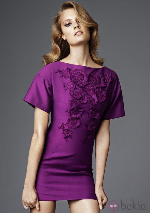 Minivestido morado de la colección más exclusiva de H&M Conscious