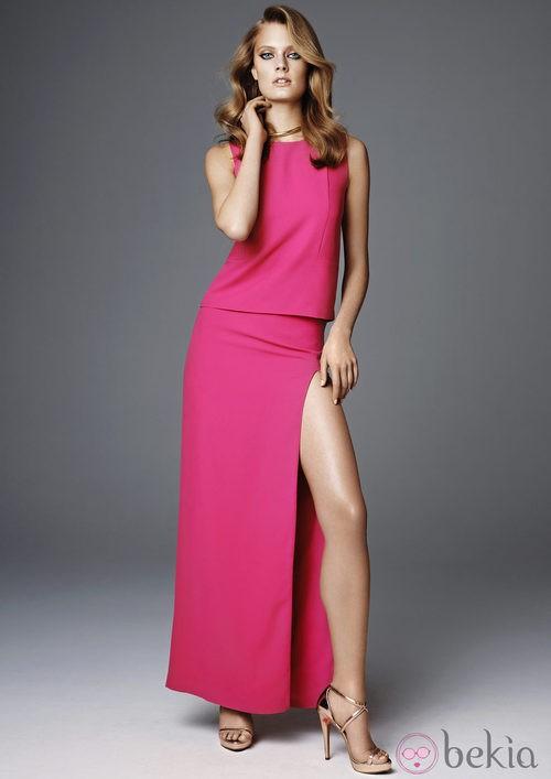 Vestido fucsia de la colección más exclusiva de H&M Conscious