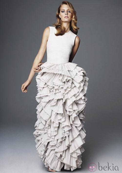 Vestido blanco roto de la colección H&M Concious