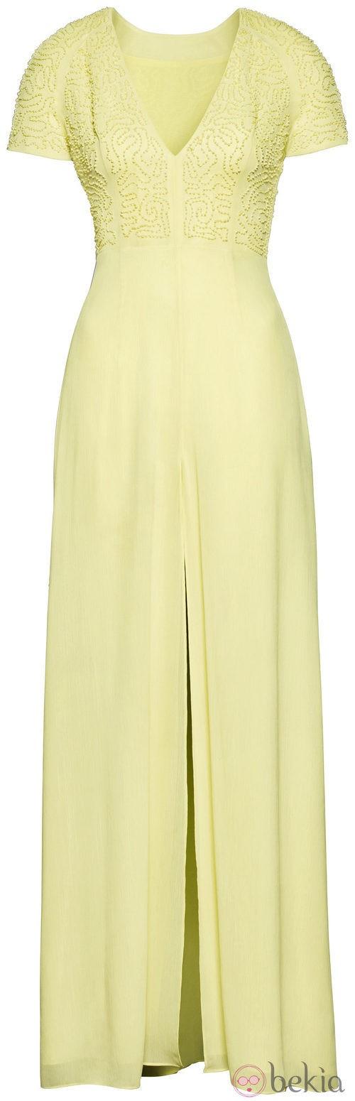 Vestido largo amarillo de la colección H&M Conscious