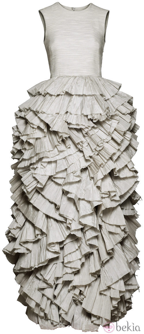 Vestido blanco roto con volantes colección H&M Conscious