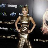 Parte de delante del vestido dorado de Jennifer Lawrence