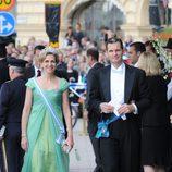 La Infanta Cristina con vestido verde manzana de Lorenzo Caprile