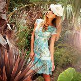 Vestido floreado en azul de la colección Laura Bernal para esta primavera/verano 2012