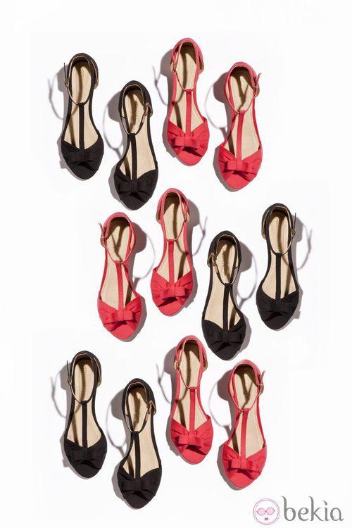 Sandalias planas en rosa chicle y negras de la nueva colección de Suite Blanco primavera/verano 2012