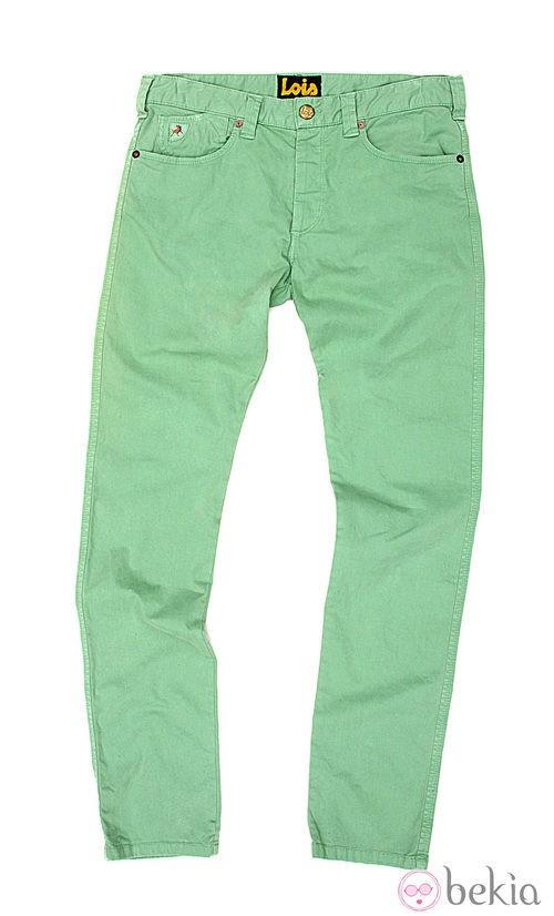 Pantalón vaquero en verde de la colección verano 2012 de Lois