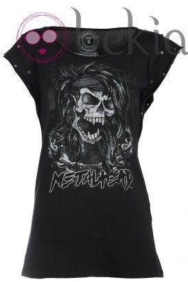 Camiseta de calaveras de la nueva colección Metalhead Clothing by Pilar Rubio