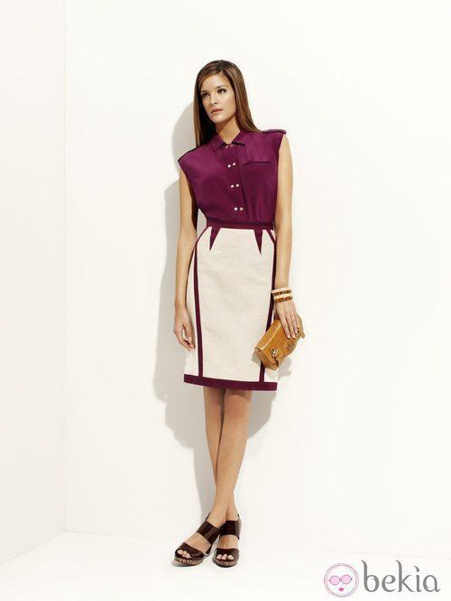 Camisa color berenjena y falda blanca de tubo de la colección 'Binoche' primavera/verano 2012 de Pedro del Hierro