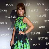 Paula Echevarría con un vestido estampado verde y negro