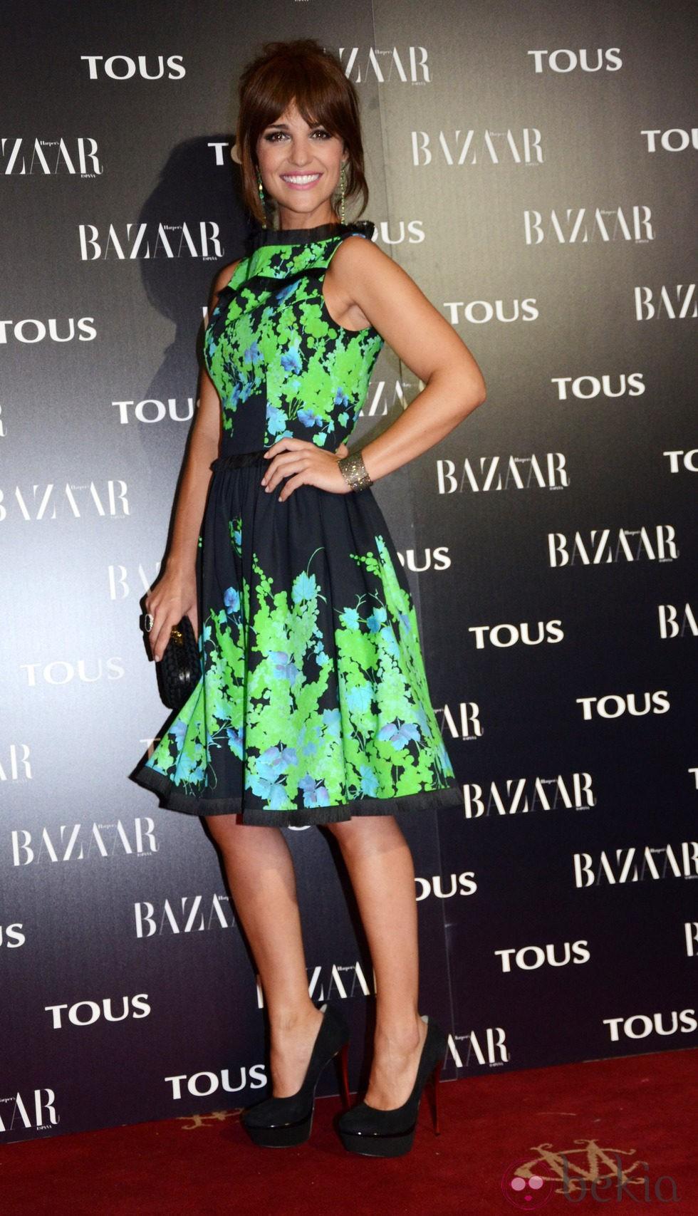 Paula Echevarría con un vestido estampado verde y negro - El estilo ...