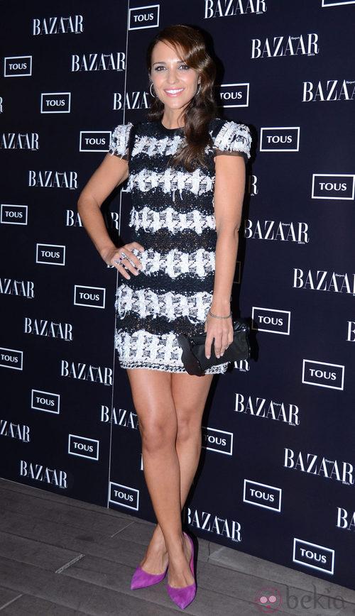 Paula Echevarría con un vestido de encaje crochet en blanco y negro