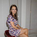 Paula Echevarría con un vestido estampado morado