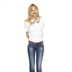 Erin Heatherton con un modelo animal print de la colección 'We love jeans' otoño 2012 de Suiteblanco
