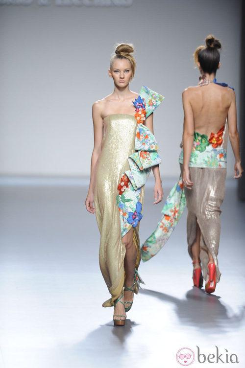 Vestido largo palabra de honor y lazo voluminoso de la colección primavera-verano 2013 de Victorio&Lucchino