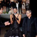 Roberto Verino y Mark Vanderloo al final del desfile en la Fashion Week Madrid el 31 de agosto 2012