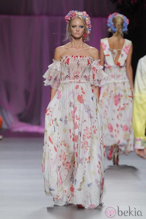 Vestido largo estampado de Francis Montesinos, colección primavera/verano 2013