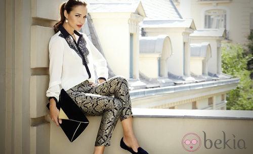 Paula Echevarría con un pantalón brocado del otoño/invierno 2012/2013 de Suiteblanco