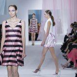 Vestido de rayas de tirantes de Dior en la Semana de la Moda de París primavera/verano 2013