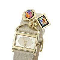 Reloj de Frey Wille de cuero en color perla con charms
