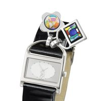Reloj negro con print de cocodrilo con charms de Frey Wille