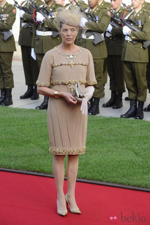 Carolina de Mónaco con vestido de Chanel en la boda de Guillermo de Luxemburgo y Stéphanie de Lannoy