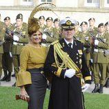 Máxima de Holanda con un vestido bicolor en la boda de Guillermo de Luxemburgo
