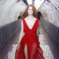 Vestido rojo con transparencias de Mango