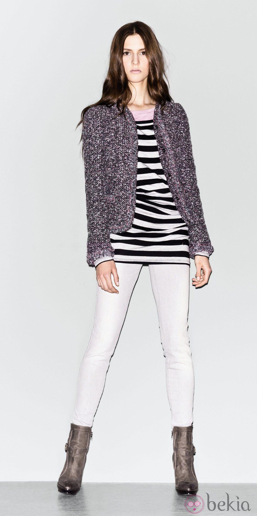Chaqueta de tweed y camiseta de rayas de la colección de Sisley otoño/invierno 2012/2013