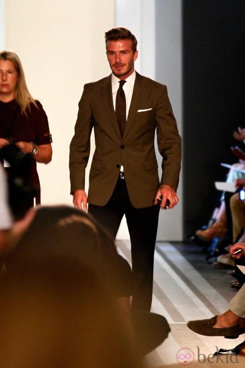 David Beckham con traje en la Semana de la Moda de Nueva York